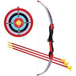 TENGER arco y flechas Niños tiro con arco tiro Juegos con 3flechas para niño a partir de 3años, rojo, 64*20*5cm