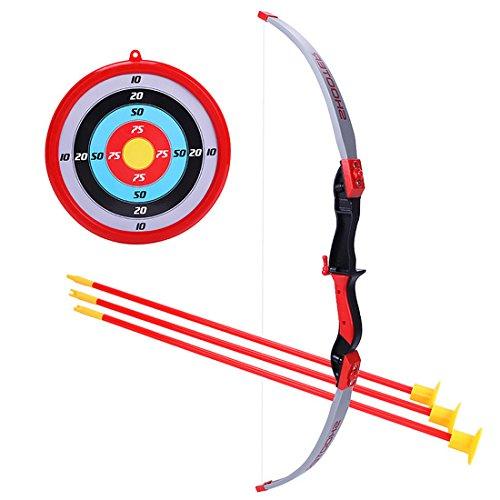 BANDRA Kinder Pfeil und Bogen Set Kinder Bogenschießen 70CM Bogen + 3 x 49CM Pfeile Saugnapf + 24cm Zielscheibe für Kinder Sport Spielzeug