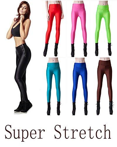 Junshan Femme Legging Femme Pantalon taille haute skinny fluorescent Candy couleur femme sport pantalons Loisirs Rouge
