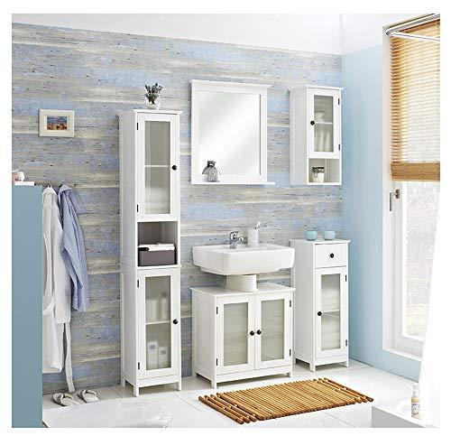 PELIPAL - Maxim 13 - Badmöbel-Set - 60 cm - 6-teilig Badset Komplettset stehend mit Spiegel Keramik-Waschtisch usw. - Landhausstil - in weiß Glas/weiß -