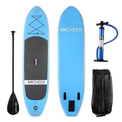 Preisvergleich Produktbild Ancheer DA-01 303 cm PVC Aufblasbarer Stand Up Paddle Board, iSUP Board mit verstellbarem Paddel und Dual Action Pump und Rucksack, 15 cm Dick (AS10-BL)