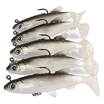 5pcs/lot 8cm Grey Fishing Lures Sea Bass Carp Wobblers Silicone Artificial Bait