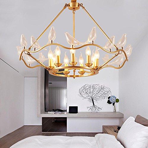 U-Enjoy Kronleuchter Kreative Vogel Raum für neue Art-Deco-Kupfer Kronleuchter Led Beleuchtung Moderne Schlafzimmer Amerika Kronleuchter Wohn Kostenloser Versand [6 Leuchten]