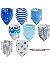 Lictin 8 pcs baberos Bufanda triángulo para bebés hechos con algodón súper absorbente para bebés y