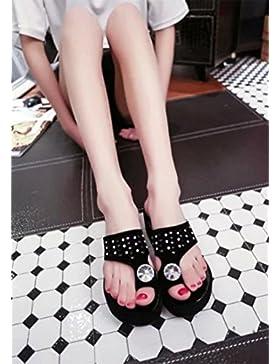 La Sra hueco sandalias de punta abierta sandalias cómodas zapatos planos femenino de los estudios , black , US5.5...