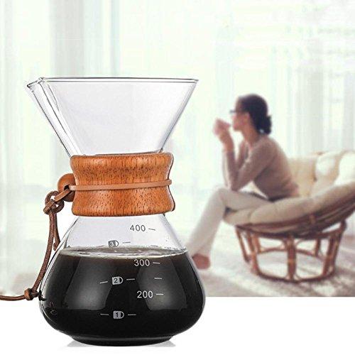 Purplert caffettiera 400 ml caffè ad alto contenuto di borosilicato caffè versato caffettiera a goccia manuale resistente alle alte temperature caffettiera + filtro in acciaio inox con fori