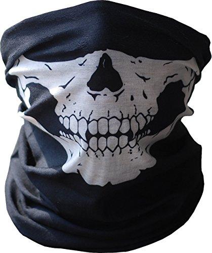 Unicoco Pasamontaña Pañuelo de Calavera Negros Máscara Facial de la Motocicleta Mascarilla Fantasma Halloween Negro 1 Pieza