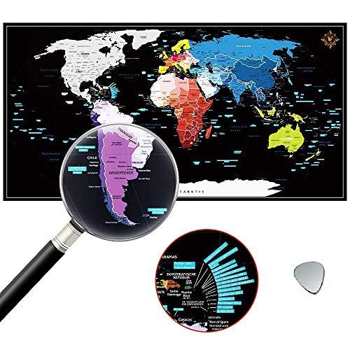 ZHIJING Weltkarte zum Rubbeln in Deutsch, Rubbel Weltkarte zum Freirubbeln Inkl. Kratzwerkzeuge, Perfekt für Vielreisenden, Geografie und Weltgeschichte-Liebhaber, Innendekoration und Geschenk