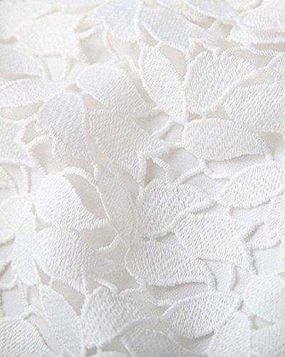 Moollyfox Femmes Robe De Soirée Courte De Cocktail À Fleur En Dentelle Sans Manches Cocktail Robe De Soiree Blanc