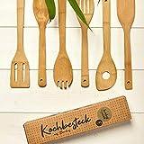 set di 6 cucchiai da cucina in bambù 100% bambù | cucchiaio da cucina ad es. mestolo da cucina, mestolo da minestra, mestolo per tagliatelle, spatola, mestolo forato