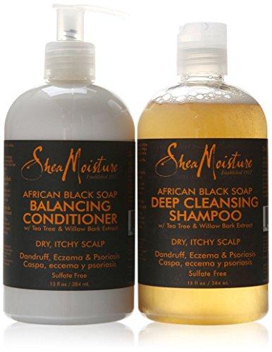 Shea Moisture Savon Noir Africain Shampoing & Revitalisant Set