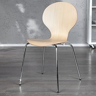 Stuhl ARNES Ahorn Designklassiker Esszimmer Küchenstuhl Stapelbar Buche Chrom - Designer Stapelstuhl von ambientica