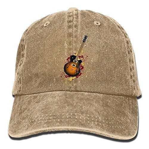 Hoswee Unisex Kappe/Baseballkappe, Guitar Adult Cowboy Hat Baseball Cap Adjustable Athletic Creating Vintage Hat for Men and Women Athletic Vintage Cap