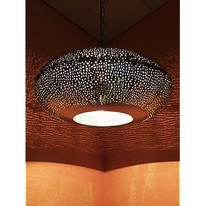 Orientalische Lampe Pendelleuchte Silber Qytura 42cm E27 Lampenfassung   Marokkanische Design Hängeleuchte Leuchte aus Indien   Orient Lampen für Wohnzimmer, Küche oder Hängend über den Esstisch