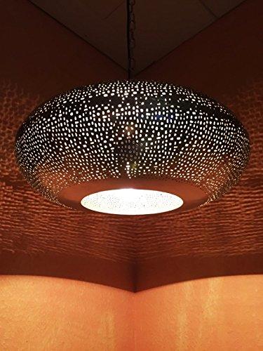 Orientalische Lampe Pendelleuchte Silber Qytura 42cm E27 Lampenfassung | Marokkanische Design Hängeleuchte Leuchte aus Indien | Orient Lampen für Wohnzimmer, Küche oder Hängend über den Esstisch (Messing-tisch-lampen Schlafzimmer Für)