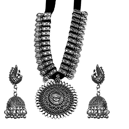 Kaizer Jewelry Antique German Silver Tribal Cotton Thread Jewelry Necklace Earring Set for Women & Girls.(Valentine Gift Special). (Black)