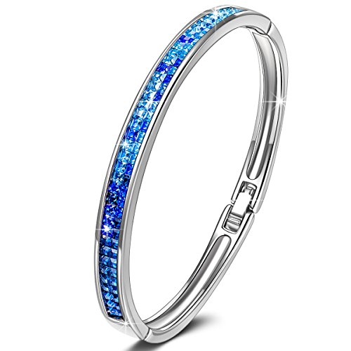 KATE LYNN Lifespring Bracelet Femme Cristal Bleu de SWAROVSKI Bijoux Cadeaux Anniversaire Naissance NoëlSaintValentinFêtedesMèresMamanetFilleMariageMeilleureAmie Maitresse Soeur
