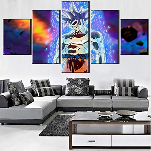 QJXX Prints On Canvas Paintings Arte De Pared En Casa HD Super Saiyan Posters 5 Piezas Dragon Ball Pictures Decoración De Sala De Estar (Sin Marco),B,30 * 40 * 230 * 60 * 230 * 80 * 1