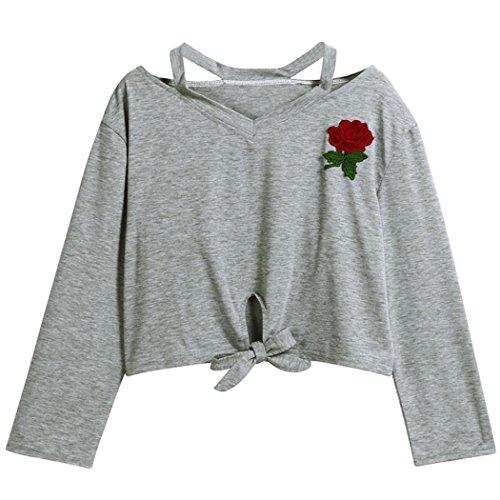 WOCACHI Damen Sommer T-Shirt Mode Frauen reizvolles Rose Appliques Kurzarm O-Neck Bowknot Dekoration Schwarz Bluse Tops T-Shirt (S/34, T-Grau-01) (Frauen Nerd Kostüme)