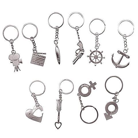Porte-clés en métal Porte-clés Porte-clés Chaîne Homard fermoirs pivotant Clips, Quick Release amovible Porte-clés, métal, Silver, 10 pcs