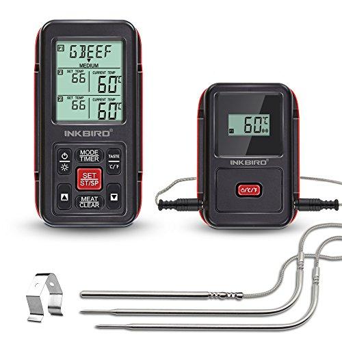 Inkbird IRF-2S Remote Wireless Smoker Fleischthermometer Funk Thermometer mit Temperaturfühlern für Kochen von BBQ,Ofen,Raucher,Grills bis zu 300M (IRF-2S+3 Temperaturfühler, Rot)