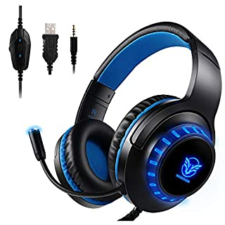 Aibesser Gaming Headset for Xbox One PS4 PC LED Light Crystal Clarity Sound Professional Headphones with Microphone for Laptop Mac Mobile Phone Tablet