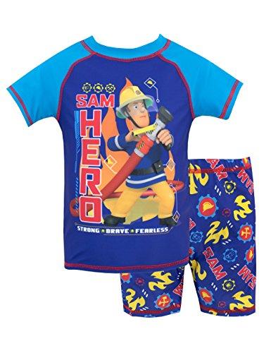 Fireman Sam Bañador de Dos Piezas para niño Sam el Bombero Azul 7-8 Años