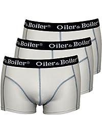 Oiler & Boiler Men's 3-Pack Plains Boxer Trunks, White With Navy Contrast