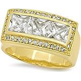De los 22 mm de ancho de Zirconia cúbico 14 K oro amarillo anillo plateado con acentos mini-CZ