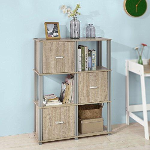 SoBuy® FRG223-N Regal Bücherregal Raumteiler mit 6 Fächern, Aufbewahrungsregal mit 3 Türen, BHT ca: 80x110x30cm (3 Tür-bücherregal)