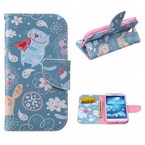 MOONCASE Galaxy S4 Hülle, [Love Cat] Muster Schutzhülle Leder Tasche Brieftasche [Stoßdämpfende] TPU Case mit Standfunktion und Karte Halter für Samsung Galaxy S4 I9500