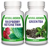 Raspberry Ketone Trim & Green Tea Extract 1 Month Supply Premium Combo by Natural Answers - Maximum Strength Fat Burning Supplement - Pure Natural Detox Pills - Quick Weight Loss UK Manufactured