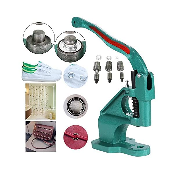 Yaheetech Grommet Punch Machine 3 Die (6mm/10mm/12mm) Hand Eyelet Press  Hole Punch Tool with 1500 Silver Grommets Eyelet Free