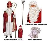 Scherzwelt St Nikolaus Kostüm von Boland mit Perücke + Bart + Stab Gr. L/XL