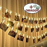 MOLLETTE con LED per FOTO collegate da un filo, per appendere foto, 20 Foto Led Clips mobili + GANCETTI appendi ghirlanda illuminazione luci led, lunga 2.5 metri alimentata a batteria, per decorazioni, camera da letto, foto, appunti, opere d'arte , Matrimonio ,Festa di Natale ,Compleanno [Classe energetica A++]