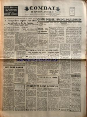 COMBAT [No 6337] du 06/11/1964 - UNE DEC...