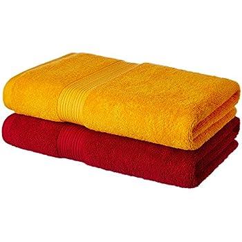 Amazon Brand - Solimo 100% Cotton 2 Piece Bath Towel Set, 500 GSM (Spanish Red and Sunshine Yellow)