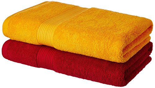 Solimo 2 Piece 500 GSM Cotton Bath Towel Set - Spanish Red and Sunshine Yellow