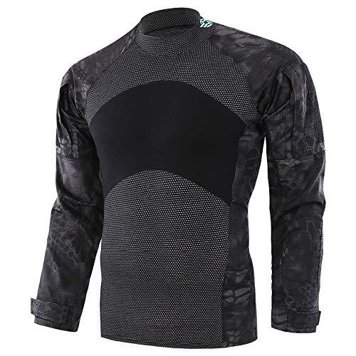 Herren Pullover Taktische Softshell-Sweatshirt Bequeme Herbst Outwear für Herren | Tactical Military Top im Army-Style | Kontrastnähte Camouflage
