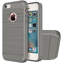 Funda iPhone SE, HICASER Durabilidad Flexible TPU Case, Carbon Fiber Antideslizante Gota Protección Rugged Armor Defensivo Carcasa para iPhone SE / 5s / 5 Gris