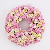artplants - Künstlicher Hortensienkranz BASIC auf Steckgrund, rosa , Ø 40 cm -...