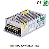 Liqoo 12.5A 150W Transformador LED Trafo del Conductor Elétrico Fuente de Alimentación LED Driver AV 110V - 260V a DC 12V para Bombilla MR16 y MR11 Ti