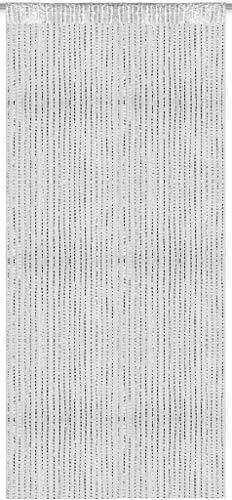Arsvita Weißer Fadenvorhang in 140x250 cm (BxL) Metall-Optik, in viele Farben erhältlich