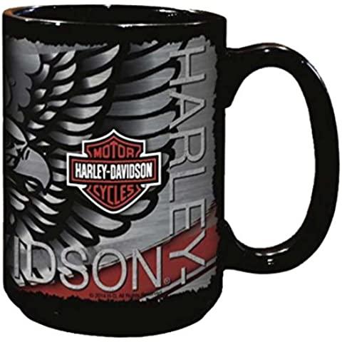 Harley-Davidson Distressed Eagle Bar & Shield Coffee Mug, 15 oz. Black HD-HD-923 by Harley-Davidson
