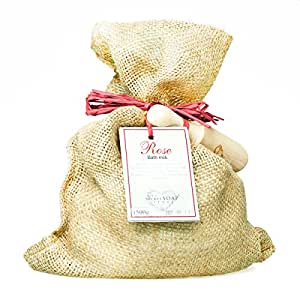 Goat's milk bath powder with rose (1800 g) in a jute bag with a wooden scoop. Unique packaging! Particularly suitable for hot tub, jacuzzi and whirlpool bath!