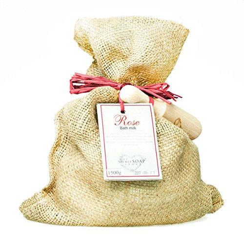 Preisvergleich Produktbild Badepulver mit Rose und Ziegenmilch (1500 g) in einem Jutesack mit einer Holzschaufel. Einzigartige Verpackung! Besonders für Whirlpool, Jacuzzi, Sprudelwanne geeignet!