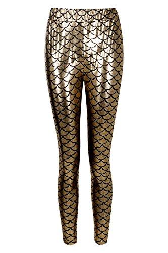 Femmes Or Esme Metallic Mermaid Leggings Or