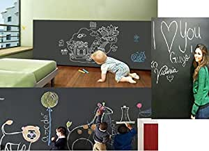Duofire (Black,43*200 CM) Peel and Stick Blackboard Sticker Memo Removable Vinyl Chalkboard Wall Sticker