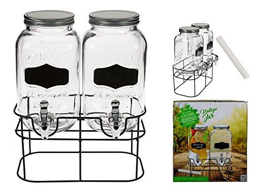 OOTB Doble de Cristal Fido-Dispensador de Bebidas, Cristal con Rosca de Metal, Transparente, 32.8x 24.3x 36.5cm, 2Unidades de Medida