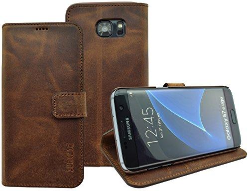 Book-Style Ledertasche Tasche für Samsung Galaxy S7 EDGE *ECHT LEDER* Handytasche Case Etui Hülle (Original Suncase) in antik - coffee